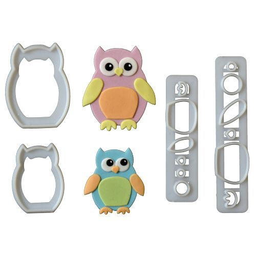 FMM Mummy & Baby Owl Cutter Set/4 PINGUIN AUSSTECHER